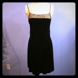Vivienne Tam silk rayon velvet dress black beaded
